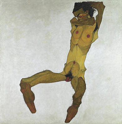 Europe Painting - Seated Male Nude, Self-portrait by Egon Schiele