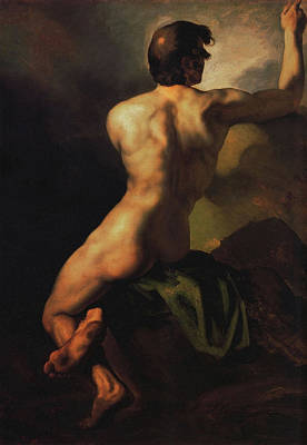 Painting - Seated Male Nude  by Theodore Gericault