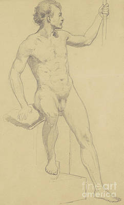 Male Nude Drawing Drawing - Seated Male Nude by Walter Shirlaw