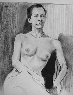 Drawing - Seated Model Concentrating Hard by Robert Holden