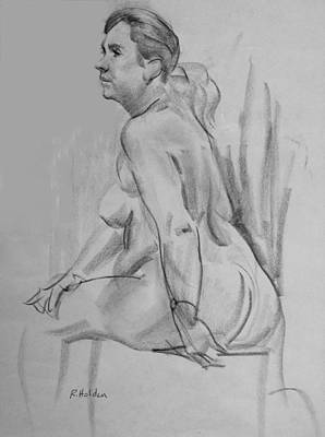 Drawing - Seated Model Leaning Forward by Robert Holden