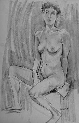 Drawing - Seated Model by Robert Holden