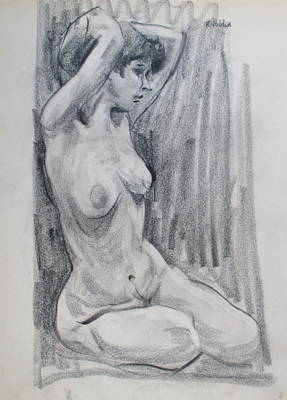 Drawing - Seated Model With Upraised Arms by Robert Holden