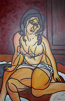 Seated Nu Art Print by Guadalupe Herrera