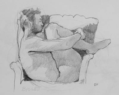 Seated Nude 1 Art Print by Robert Bissett