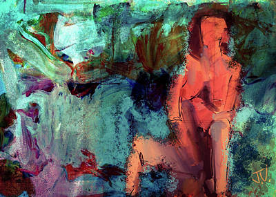 Digital Art - Seated Nude Abstract by Jim Vance