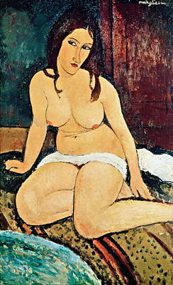 Seated Nude Art Print by Amedeo Modigliani