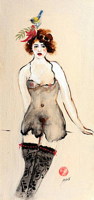 Seated Nude In Black Stockings With Flower And Bird Art Print by Susan Adams