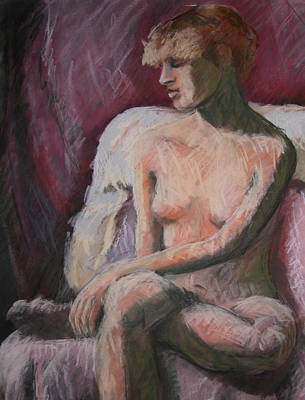 Painting - Seated Nude In Pink by Synnove Pettersen