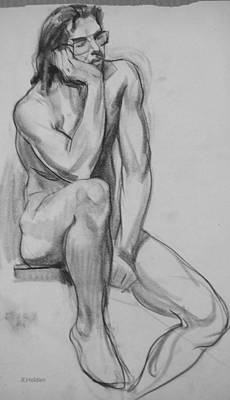 Drawing - Seated Nude Man With Glasses by Robert Holden