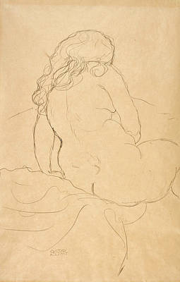 Drawing - Seated Nude Seen From Behind And Turned To The Right by Gustav Klimt