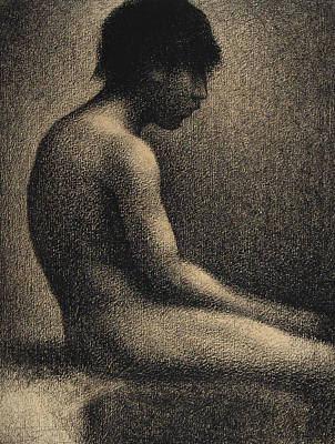 Drawing - Seated Nude Study For Une Baignade by Georges-Pierre Seurat