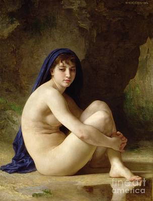 Reflecting Water Painting - Seated Nude by William Adolphe Bouguereau