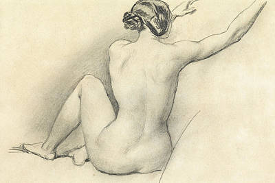 Hair Bun Drawing - Seated Nude by William Edward Frost