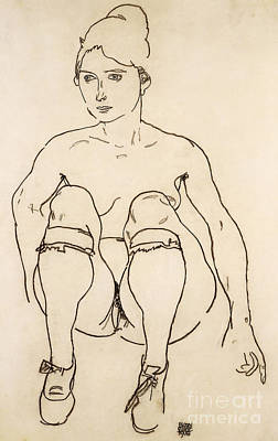 Pen And Paper Drawing - Seated Nude With Shoes And Stockings by Egon Schiele