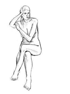 Grayscale Drawing - Seated Nude Woman by Adam Long