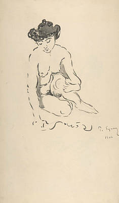 Paul Drawing - Seated Nude Woman by Paul Signac