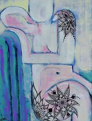 Wall Art - Mixed Media - Seated Pink Nude, Tattooed by Jen Walls