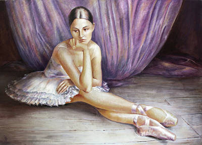 Painting - Seated Pose Prima  Ballerina Dancer by Vali Irina Ciobanu