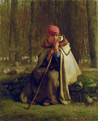 Seat Painting - Seated Shepherdess by Jean-Francois Millet