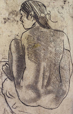 Native Women Drawing - Seated Tahitian Nude From The Back by Paul Gauguin