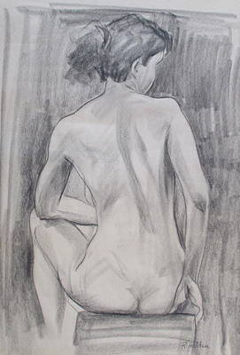 Drawing - Seated, Twisting Back by Robert Holden