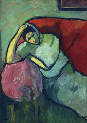 Reclining Painting - Seated Woman by Alexej von Jawlensky