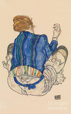 Painting - Seated Woman, Back View, 1917  by Egon Schiele