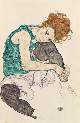Woman With Black Hair Painting - Seated Woman With Bent Knee by Egon Schiele