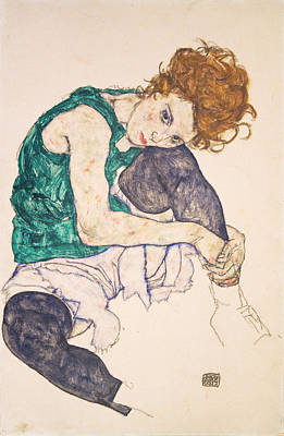Top With Oil Painting - Seated Woman With Legs Drawn Up Adele Herms 1917 by Egon Schiele