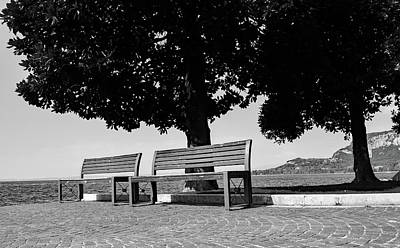 Vintage Automobiles - Seats beside Lake Garda by Ed James