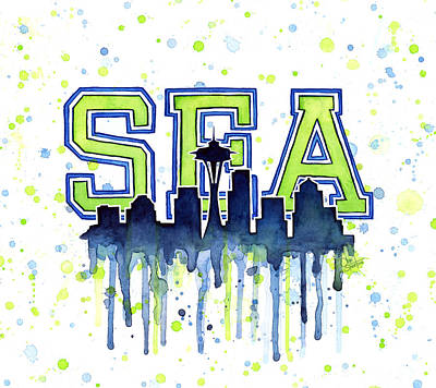 Washington Wall Art - Painting - Seattle Watercolor 12th Man Art Painting Space Needle Go Seahawks by Olga Shvartsur