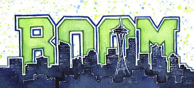 Hawk Painting - Seattle 12th Man Legion Of Boom Painting by Olga Shvartsur