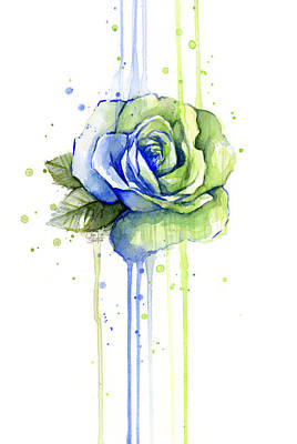 Seattle 12th Man Seahawks Watercolor Rose Art Print by Olga Shvartsur
