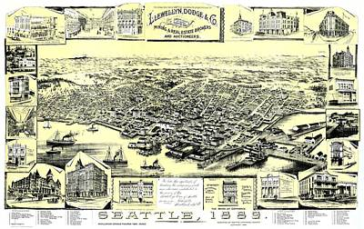 1880s Drawing - Seattle 1889 by Mountain Dreams