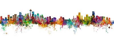 Seattle Wall Art - Digital Art - Seattle And Miami Skylines Mashup by Michael Tompsett