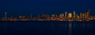 Clouds Rights Managed Images - Seattle at Dusk Royalty-Free Image by Don Gibson