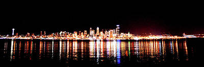 Photograph - Seattle At Night - From Alki Beach by Brian O'Kelly