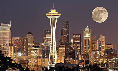 Skyline Photograph - Seattle Full Moon by Paul Fell