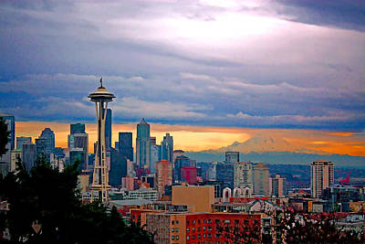 City Scape Painting - Seattle At Sunset by Elaine Plesser