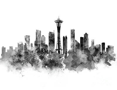 Seattle Skyline Mixed Media - Seattle Black And White by Monn Print