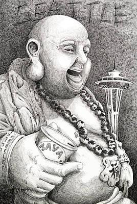 Seattle Drawing - Seattle Buddha by Scott Moore