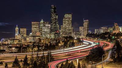 Seattle Photograph - Seattle By Night by Seattle Art Wall