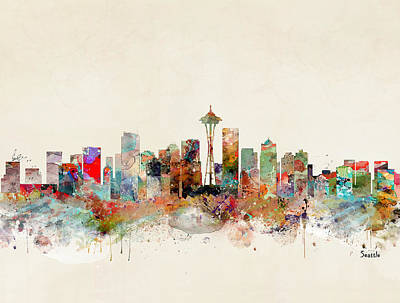 Painting - Seattle City Skyline by Bri B