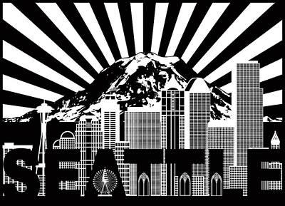Photograph - Seattle City Skyline Mount Rainier Text Black And White Illustra by Jit Lim