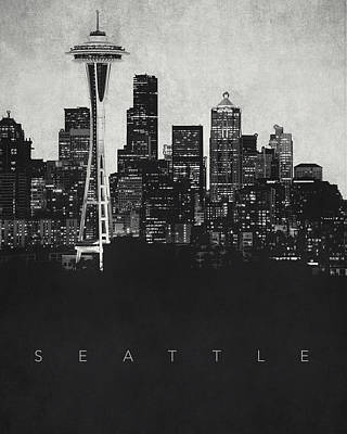 Noir Digital Art - Seattle City Skyline - Space Needle by World Art Prints And Designs