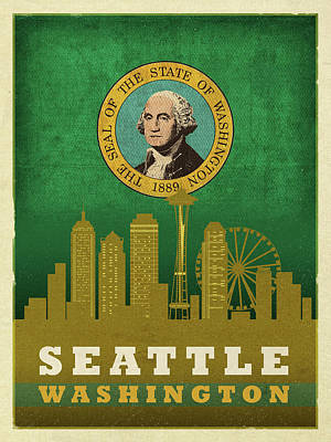 City Skyline Mixed Media - Seattle City Skyline State Flag Of Washington Art Poster Series 017 by Design Turnpike
