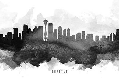 Seattle Skyline Painting - Seattle Cityscape 11 by Aged Pixel