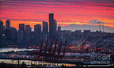 Skylines Royalty-Free and Rights-Managed Images - Seattle Cityscape and Port Sunrise Fire by Mike Reid