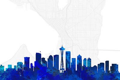 Seattle Digital Art - Seattle Cityscape And Streetmap Blue Skyline by Jurq Studio